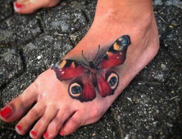 Realistic Butterfly Tattoo Pfauenauge Blutkunst Foot