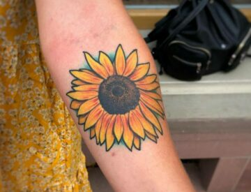 Neotrad neotraditional Tattoo sunflower Blutkunst