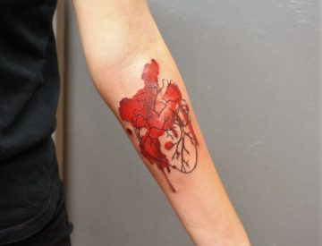 Watercolor Heart Aquarell Tattoo